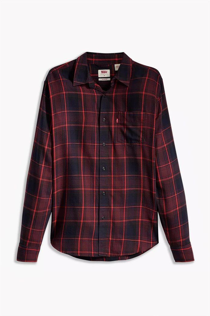 "Levi's® ανδρικό πουκάμισο με καρό σχέδιο και μία τσέπη ""Sunset"" Μπορντό 3"