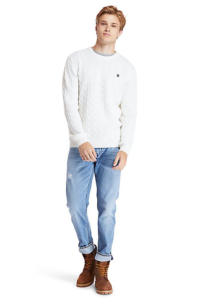 Timberland ανδρικό πουλόβερ με σχέδιο πλεξούδα στην ύφανση ''Philips Brook'' Λευκό 1