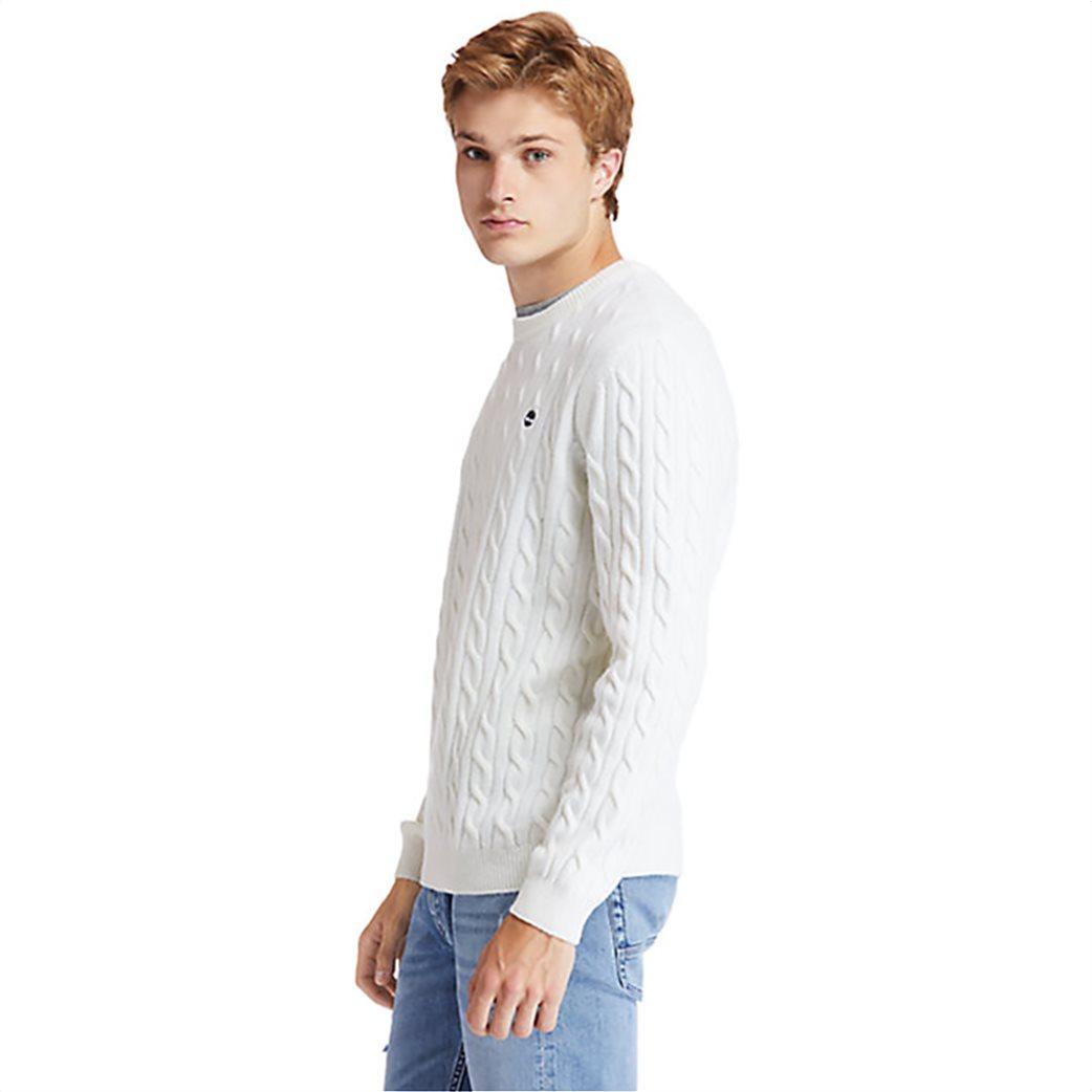 Timberland ανδρικό πουλόβερ με σχέδιο πλεξούδα στην ύφανση ''Philips Brook'' Λευκό 2