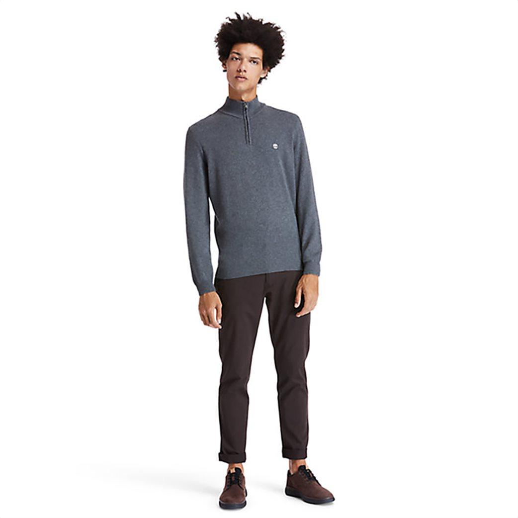 Timberland ανδρικό πουλόβερ με φερμουάρ στη λαιμόκοψη ''Choas Brook'' Γκρι 3