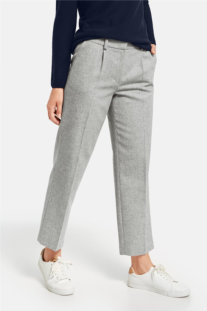 Gerry Weber γυναικείο cropped μάλλινο παντελόνι με πιέτες 1