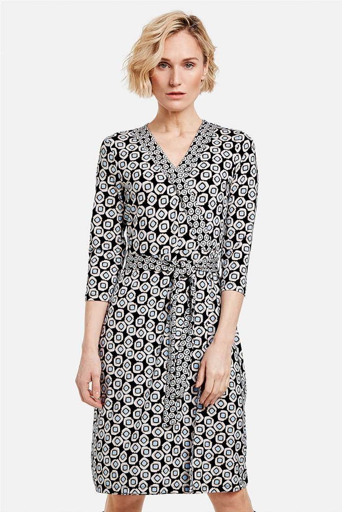 Gerry Weber γυναικείο mini φόρεμα κρουαζέ με all-over print και ζώνη στη μέση Μπλε Σκούρο 0