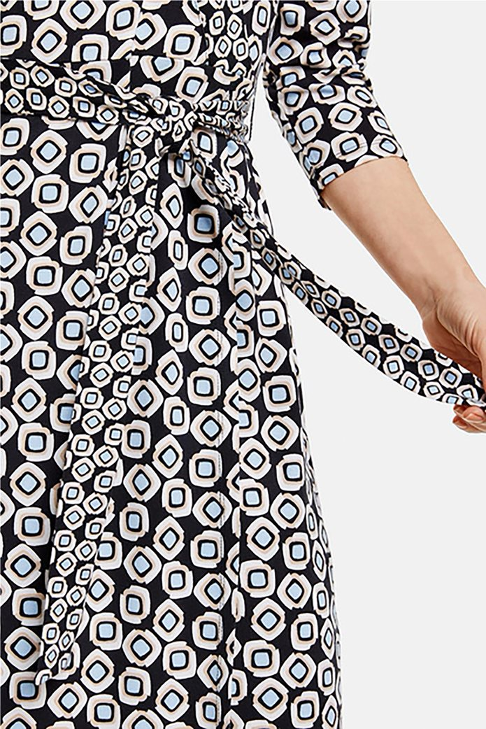 Gerry Weber γυναικείο mini φόρεμα κρουαζέ με all-over print και ζώνη στη μέση Μπλε Σκούρο 1