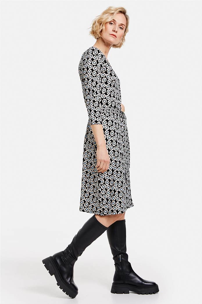 Gerry Weber γυναικείο mini φόρεμα κρουαζέ με all-over print και ζώνη στη μέση Μπλε Σκούρο 2