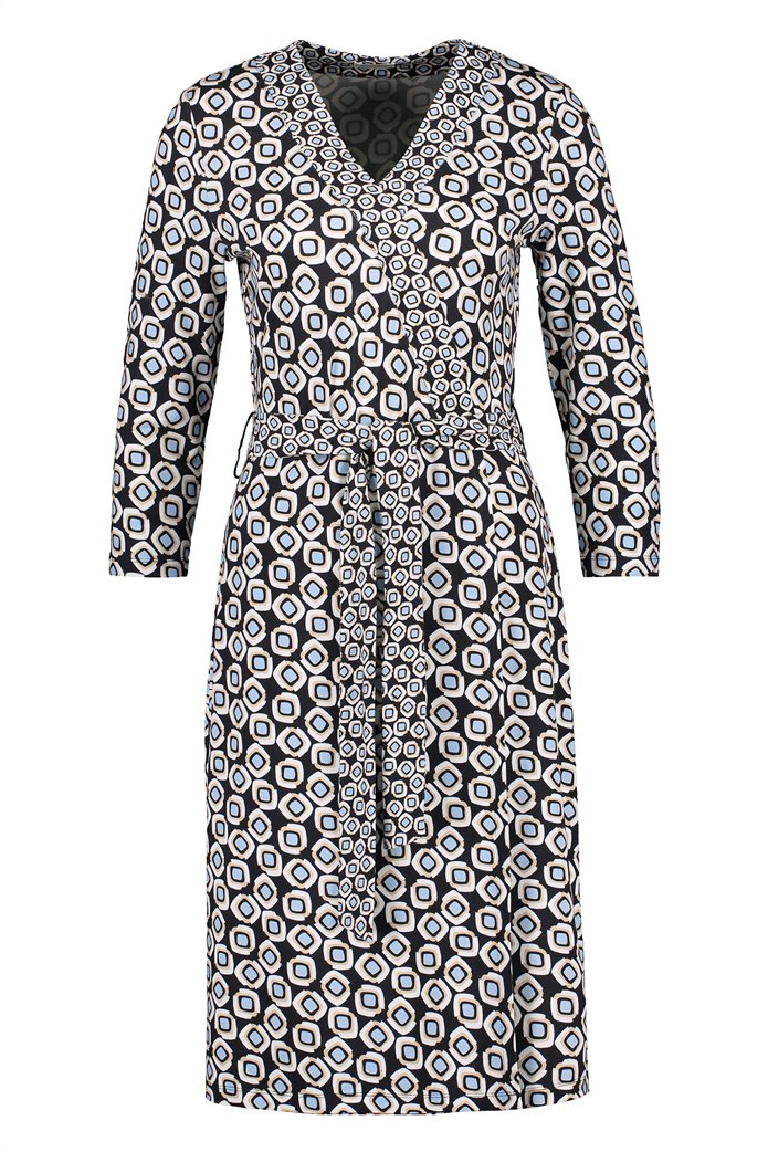 Gerry Weber γυναικείο mini φόρεμα κρουαζέ με all-over print και ζώνη στη μέση Μπλε Σκούρο 4