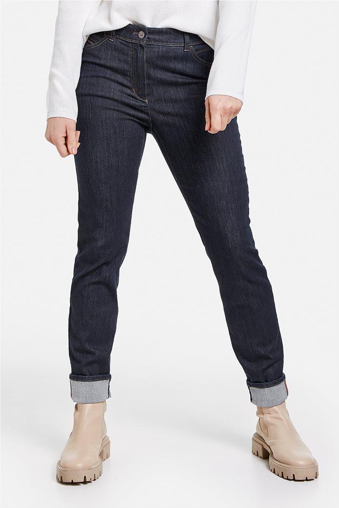 Gerry Weber γυναικείο τζην παντελόνι με ρεβέρ στο τελείωμα 0
