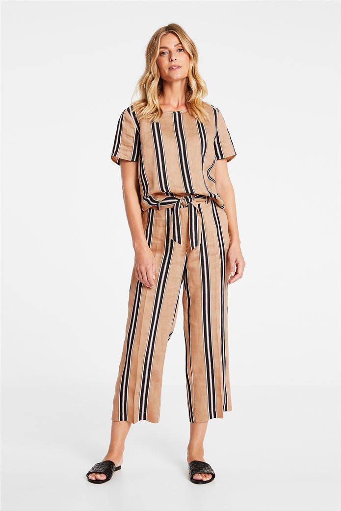 Gerry Weber γυναικείο παντελόνι cropped με ριγέ σχέδιο και ζώνη στη μέση Μπεζ 0