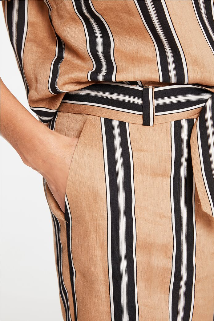 Gerry Weber γυναικείο παντελόνι cropped με ριγέ σχέδιο και ζώνη στη μέση Μπεζ 1
