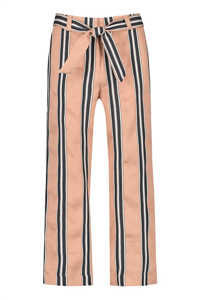 Gerry Weber γυναικείο παντελόνι cropped με ριγέ σχέδιο και ζώνη στη μέση Μπεζ 2