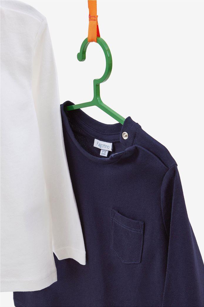 OVS βρεφικό σετ απο 2 μπλούζες μακρυμάνικες μία με print και μία μονόχρωμη με τσεπάκι 1