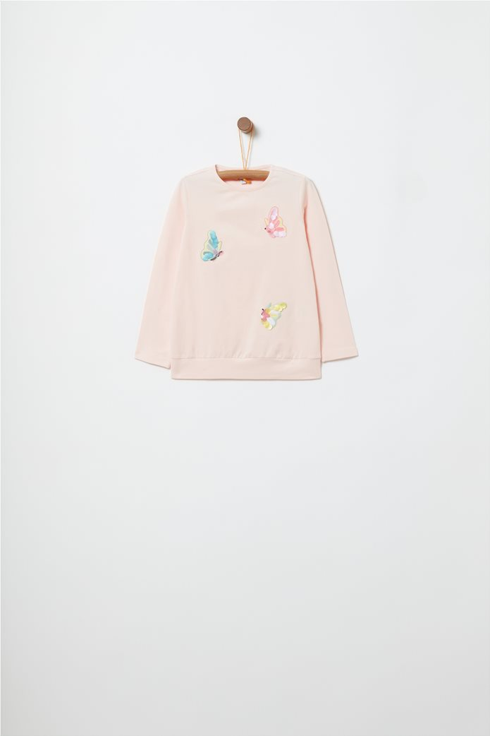 62e63db3b18 OVS   OVS παιδική μανκρυμάνικη μπλούζα με κεντήματα πεταλούδες Μπεζ   notos