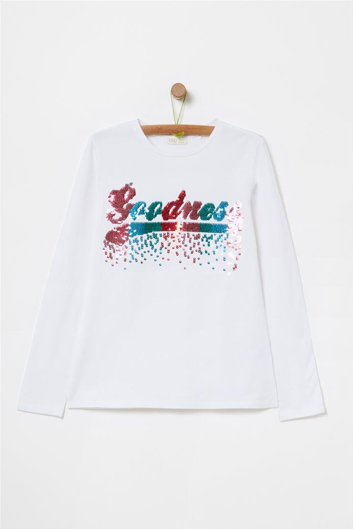 OVS παιδική μπλούζα με παγιέτες (10-15 ετών) Λευκό 0