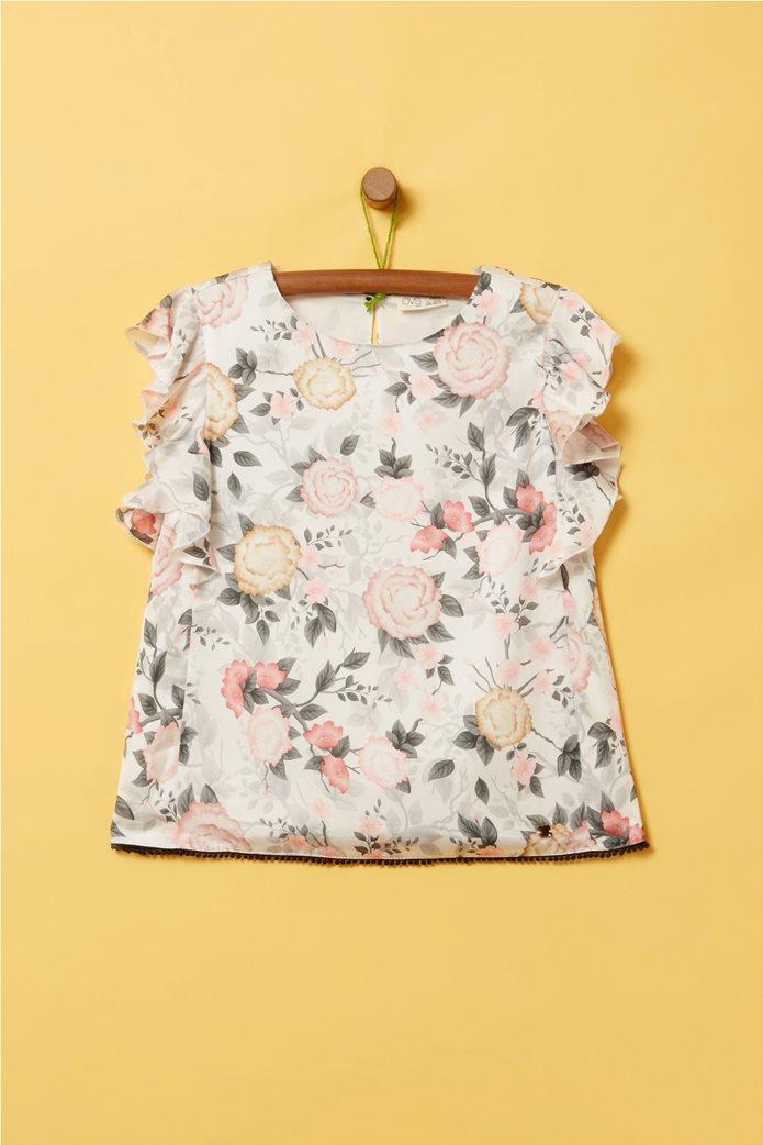 OVS παιδική floral μπλούζα με βολάν (10 -15 ετών) 0