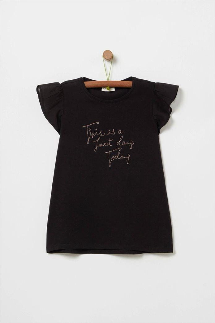 OVS παιδική floral μπλούζα με lettering και βολάν (10 -15 ετών) 0