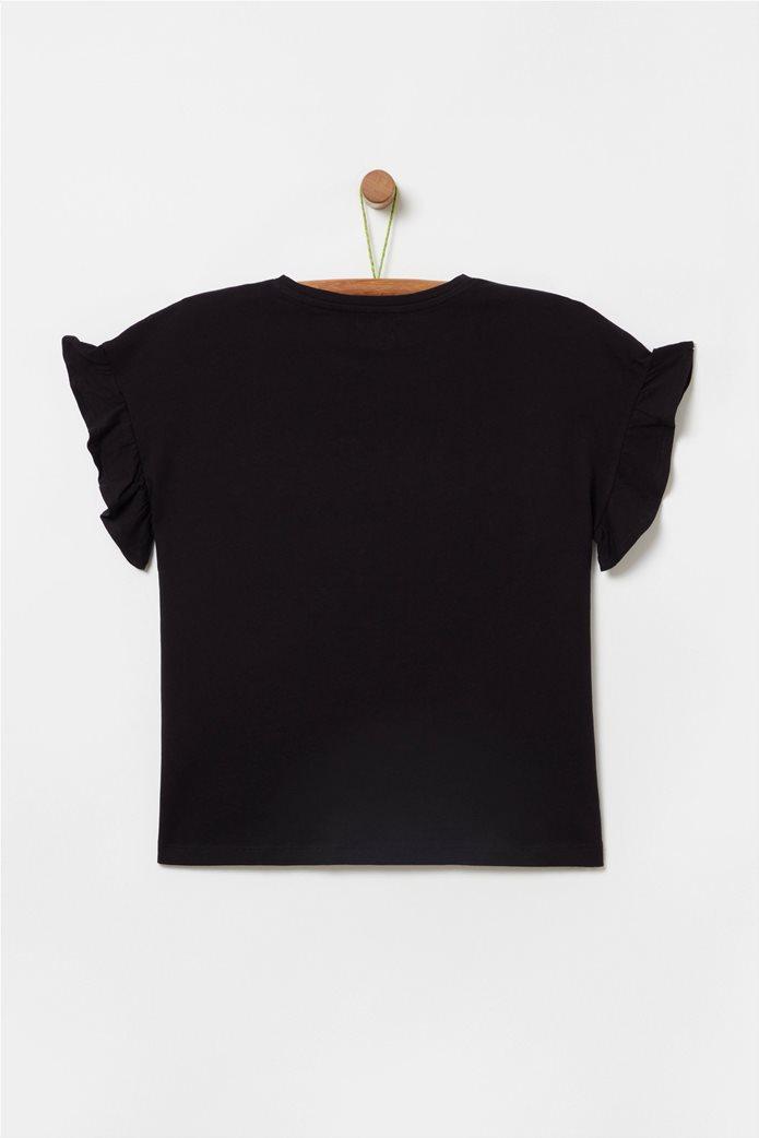 OVS παιδικό T-shirt με lettering και βολάν (10-15 ετών) 1