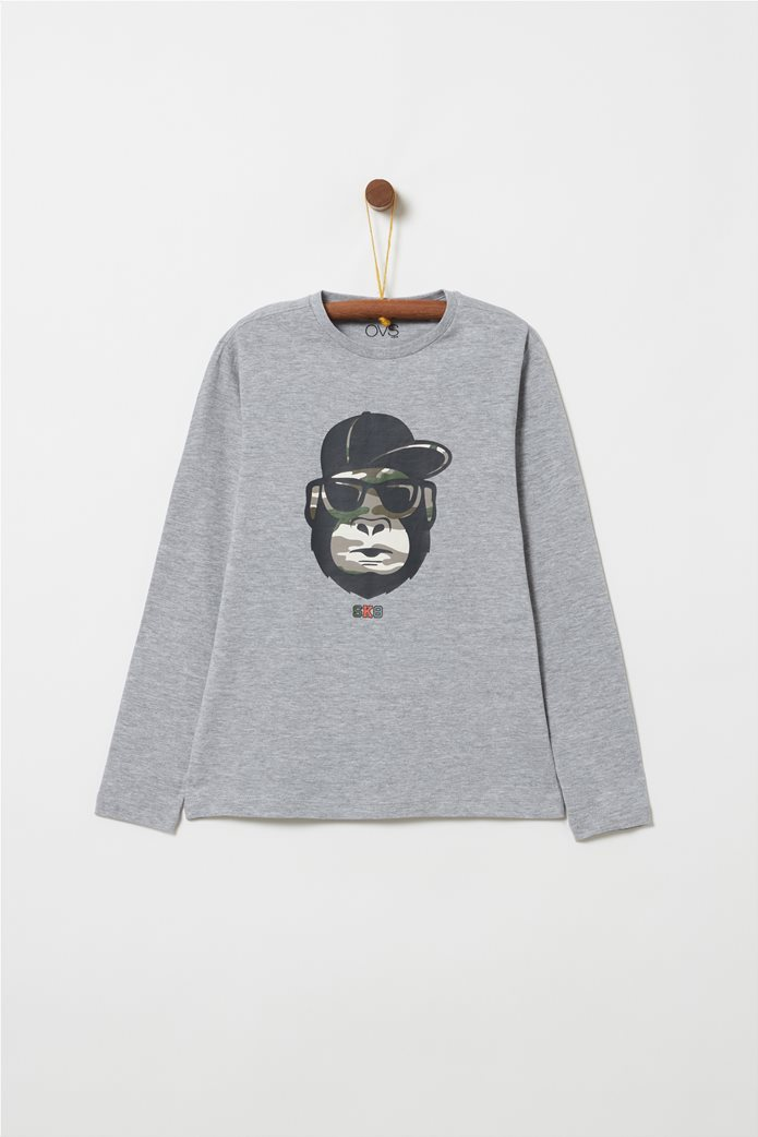 OVS παιδική μπλούζα μονόχρωμη με letter print SK8 και χιμπατζή 0