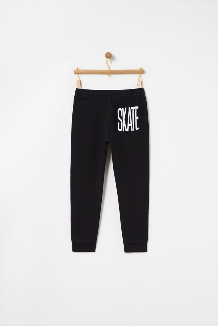 OVS παιδικό παντελόνι φόρμας μονόχρωμο με πίσω τσέπη με letter print 1