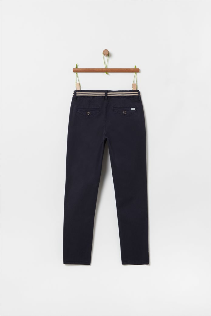 OVS παιδικό μονόχρωμο παντελόνι με ζώνη (10-15 ετών) Μπλε Σκούρο 1