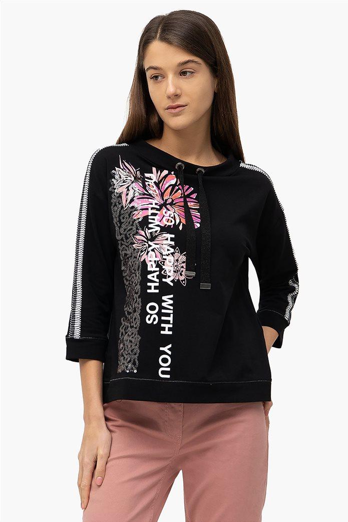 Betty Barclay γυναικεία μπλούζα φούτερ με floral & letter print Μαύρο 0