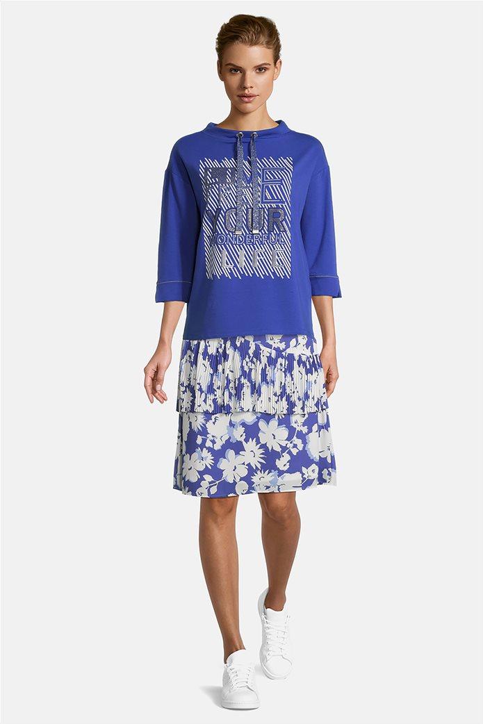Betty Barclay γυναικεία μπλούζα φούτερ με μανίκι 3/4 και print Μπλε 0