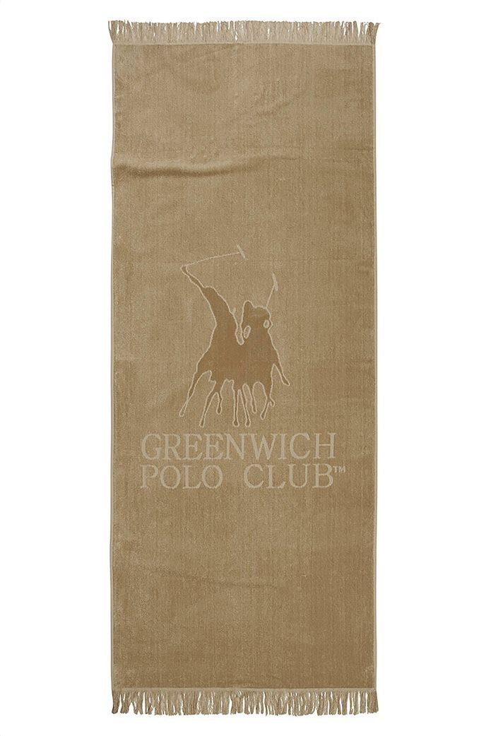 """Greenwich Polo Club βελουτέ πετσέτα θαλάσσης """"Essential"""" με logo και κρόσσια 70 x 170 cm Μπεζ 0"""