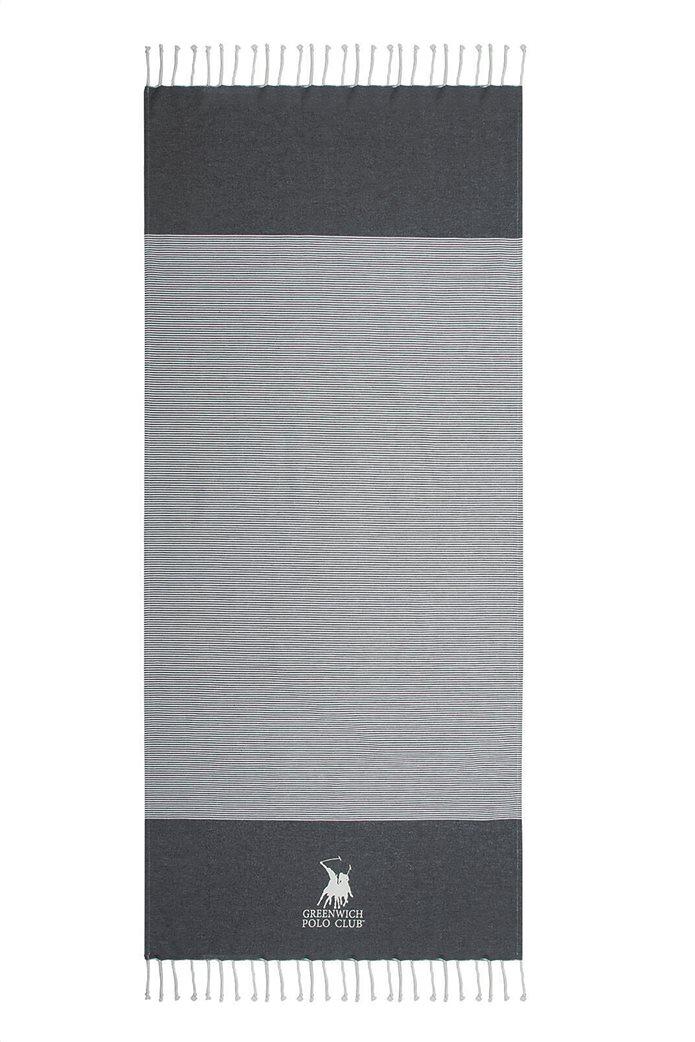 """Greenwich Polo Club πετσέτα θαλάσσης - παρεό """"Essential"""" με ριγέ σχέδιο 80 x 180 cm Ανθρακί 0"""