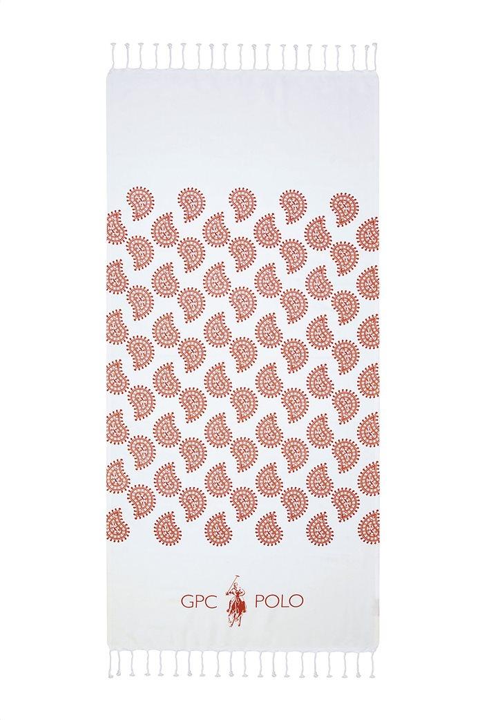 """Greenwich Polo Club πετσέτα θαλάσσης - παρεό με λαχούρια """"Essential 3537"""" 80 x 180 cm Κεραμιδί 0"""