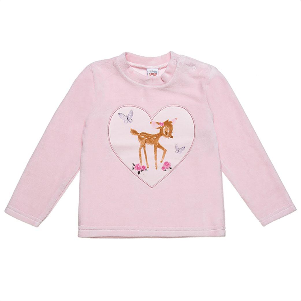 Alouette βρεφικό σετ ρούχων μπλούζα με Bambi print και παντελόνι ριγέ (3-18 μηνών) Ροζ 1