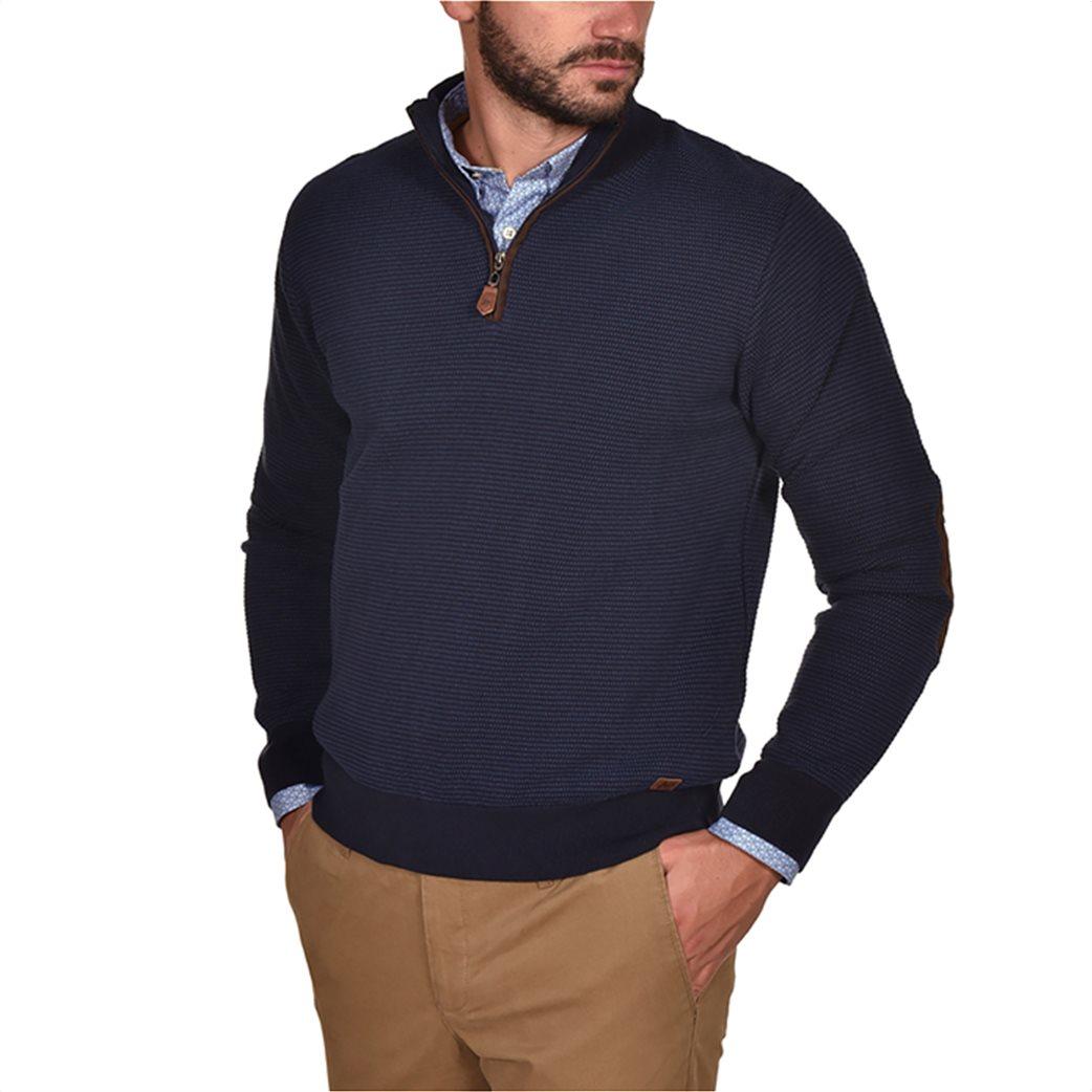 Dur ανδρική πικέ μπλούζα με φερμουάρ και patches στους αγκώνες 1