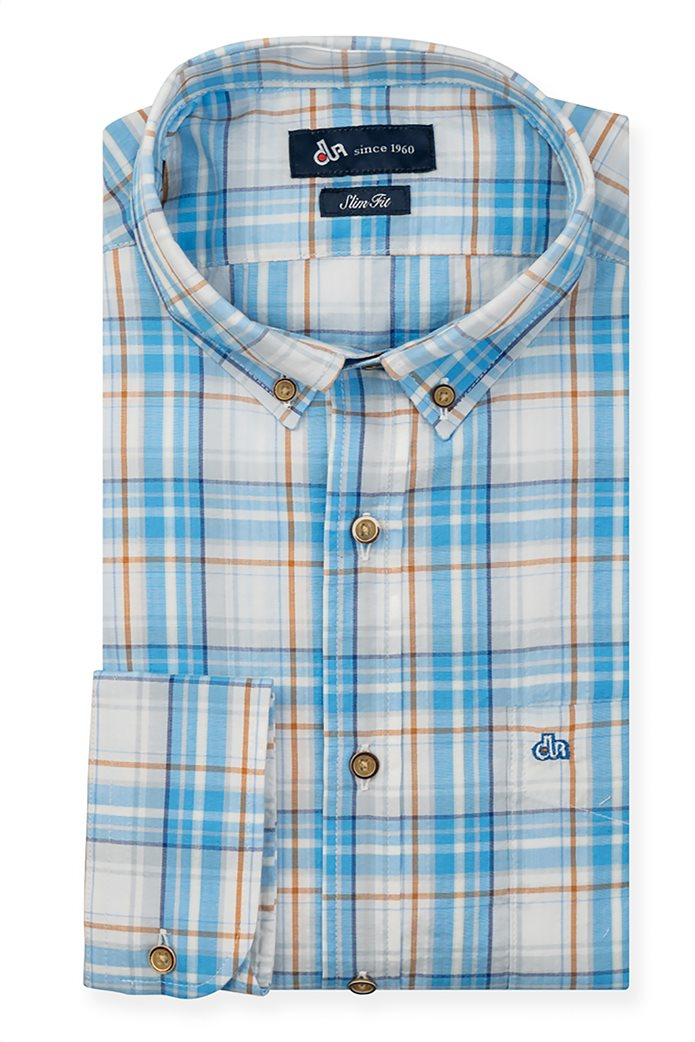 Dur ανδρικό πουκάμισο καρό με κεντημένο λογότυπο 0