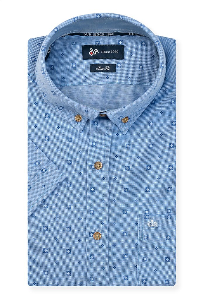Dur ανδρικό κοντομάνικο πουκάμισο με μικροσχέδιο Μπλε Ανοιχτό 0