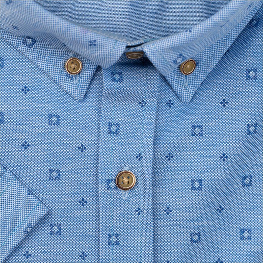 Dur ανδρικό κοντομάνικο πουκάμισο με μικροσχέδιο Μπλε Ανοιχτό 1