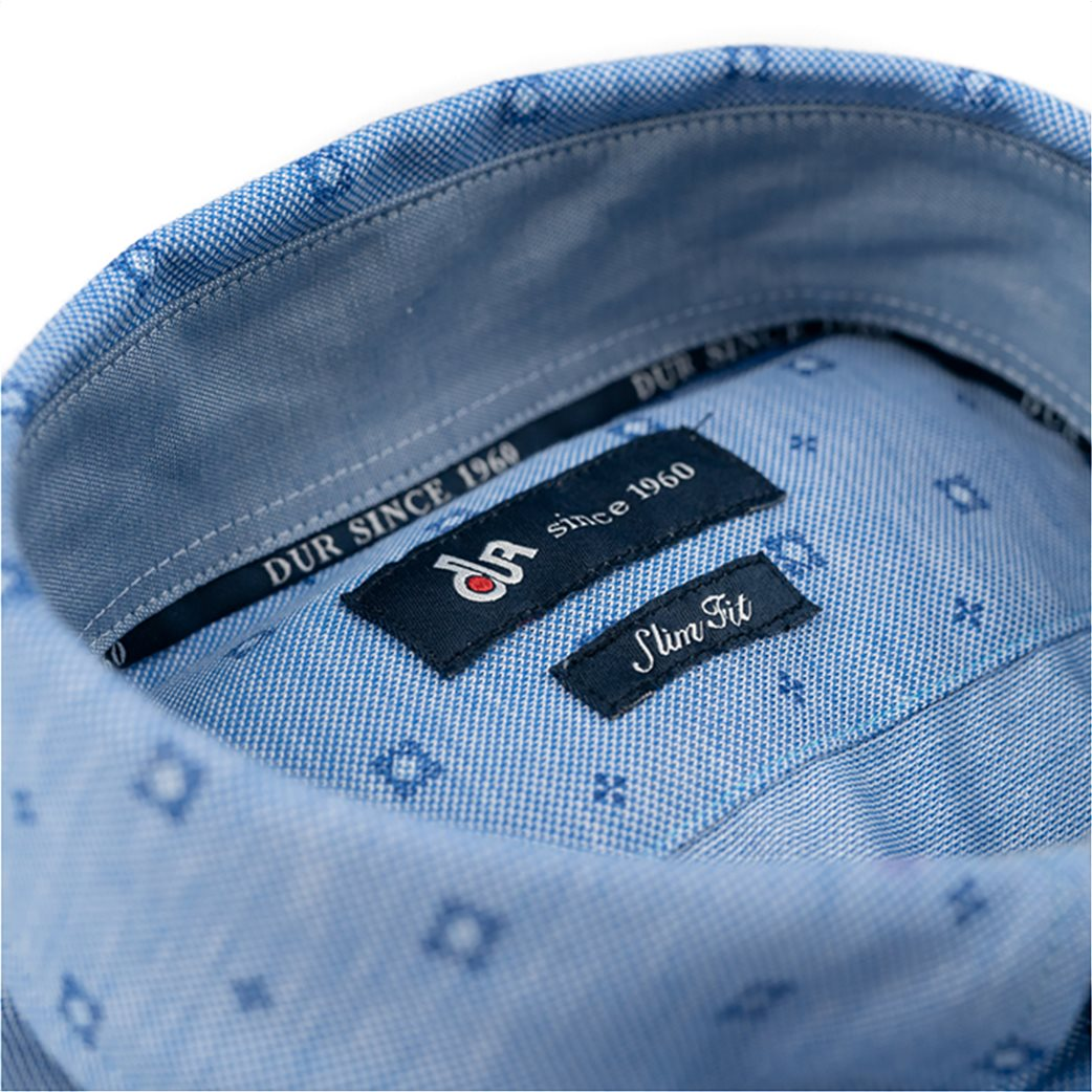 Dur ανδρικό κοντομάνικο πουκάμισο με μικροσχέδιο Μπλε Ανοιχτό 2
