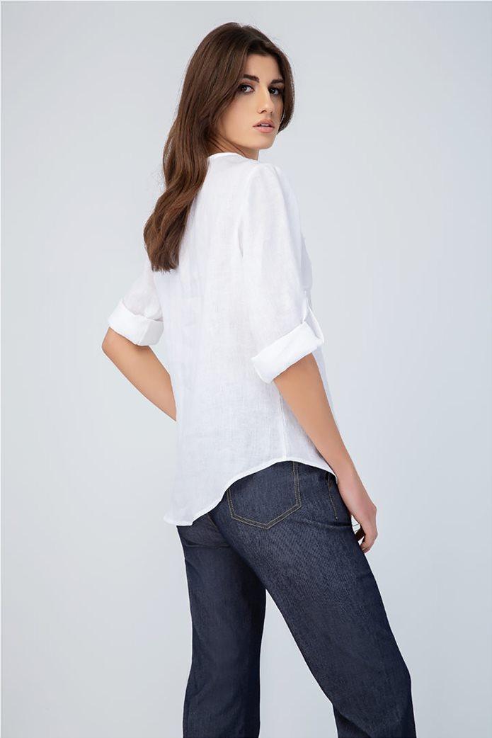 Billy Sabbado γυναικεία λινή μπλούζα με V λαιμόκοψη  και δαντέλα 2