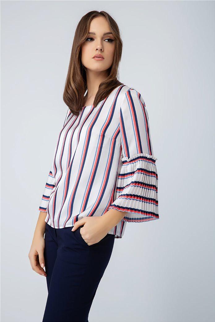 Billy Sabbado γυναικεία ριγέ μπλούζα με πλισέ μανίκι 0