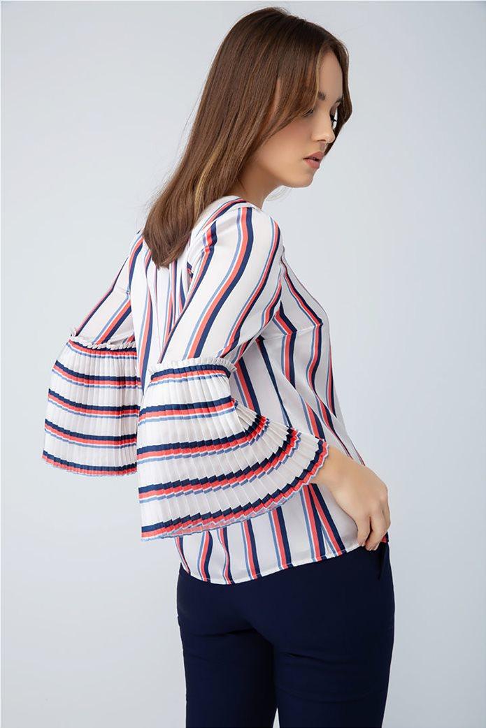 Billy Sabbado γυναικεία ριγέ μπλούζα με πλισέ μανίκι 1