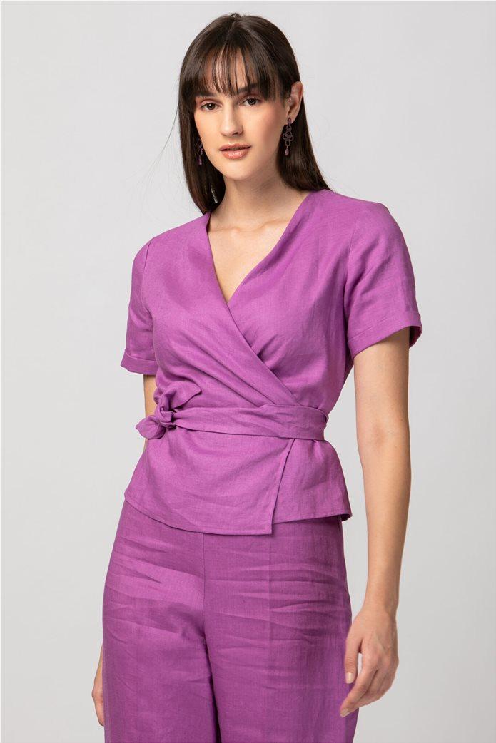 Billy Sabbado γυναικεία μπλούζα λινή κρουαζέ 0