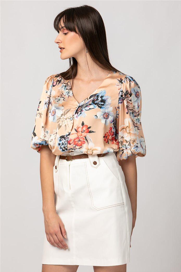Billy Sabbado γυναικείο σατέν πουκάμισο με floral print 1