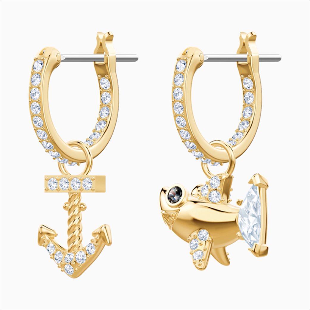 Swarovski Ocean Shark Pierced Earrings, White, Gold-tone plated 1