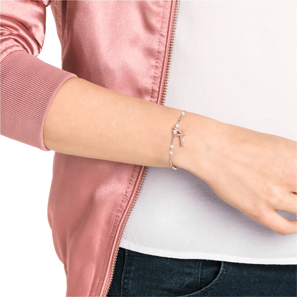 Swarovski Remix Collection Charm T, White, Rose-gold tone plated 1