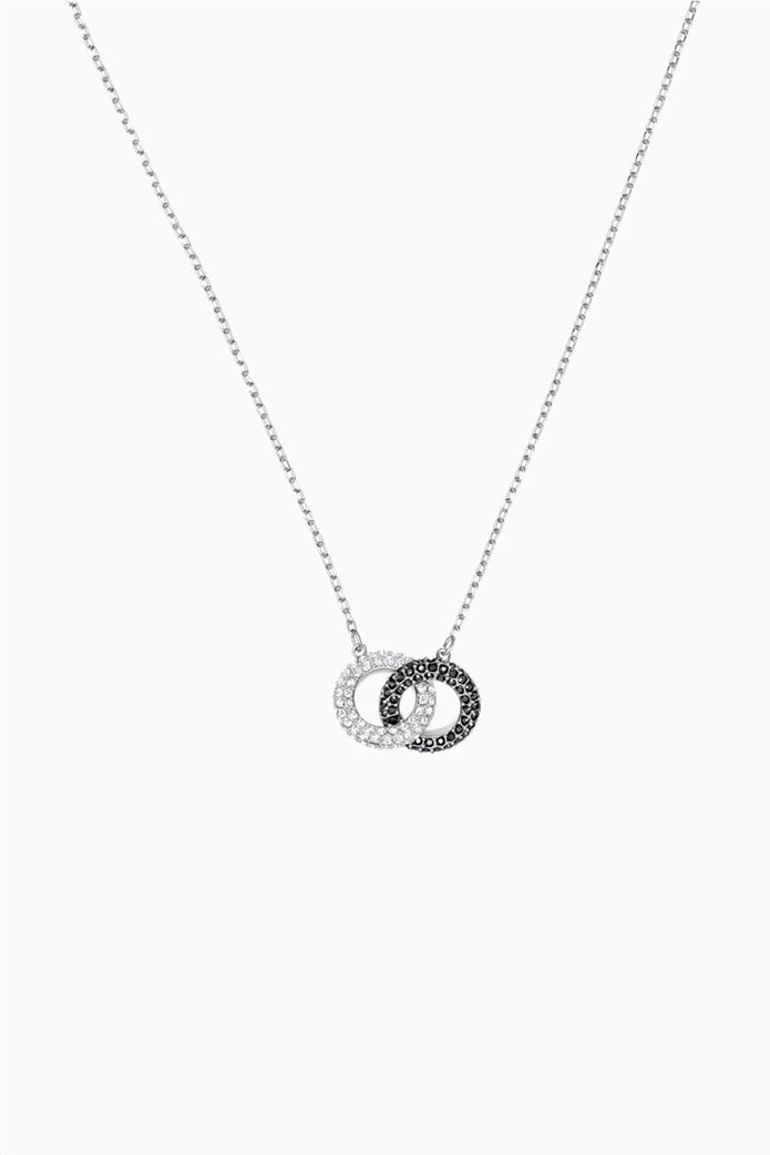 Swarovski Stone Necklace, Multi-colored, Rhodium plated Μαύρο 0