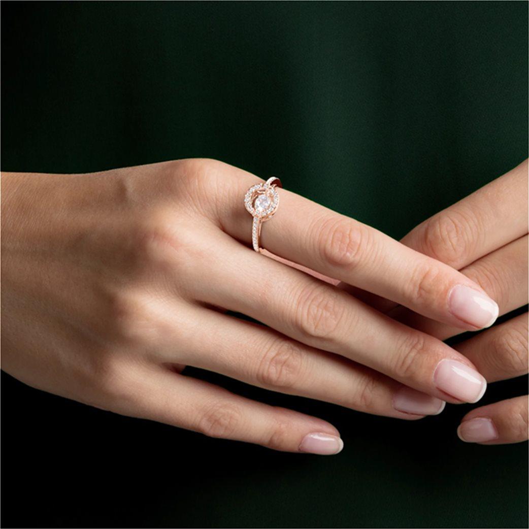 Swarovski Sparkling Dance Round Ring, White, Rose-gold tone plated Λευκό 1