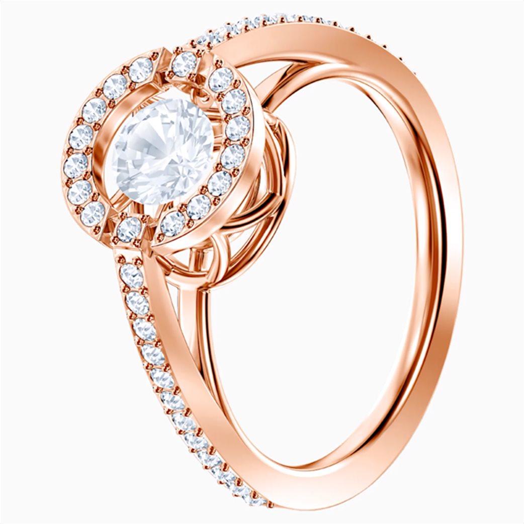Swarovski Sparkling Dance Round Ring, White, Rose-gold tone plated Λευκό 2
