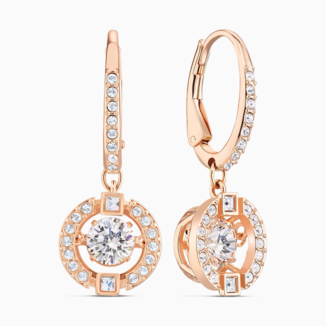 Swarovski Sparkling Dance Pierced Earrings, White, Rose-gold tone plated Λευκό 2