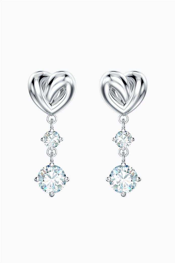 Swarovski Lifelong Heart Pierced Earrings, White, Rhodium plated Λευκό 0