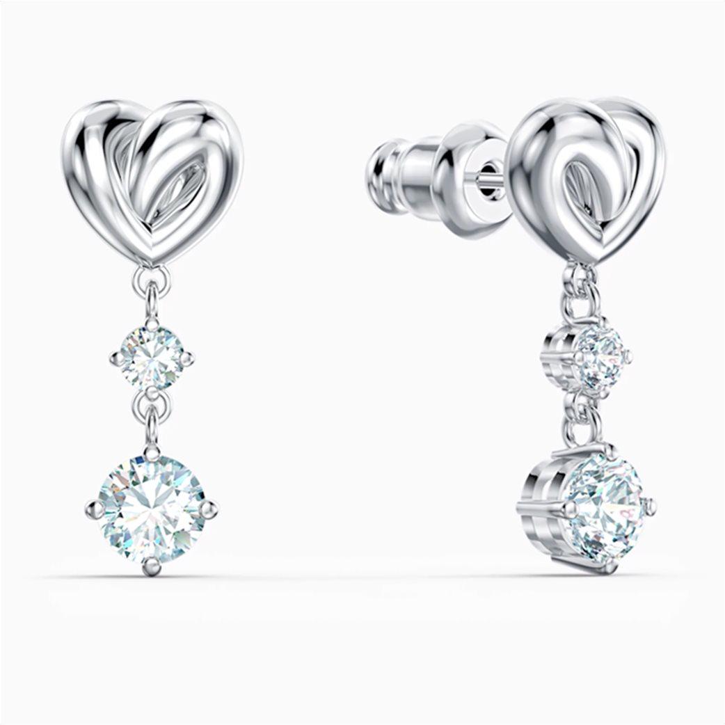Swarovski Lifelong Heart Pierced Earrings, White, Rhodium plated Λευκό 2