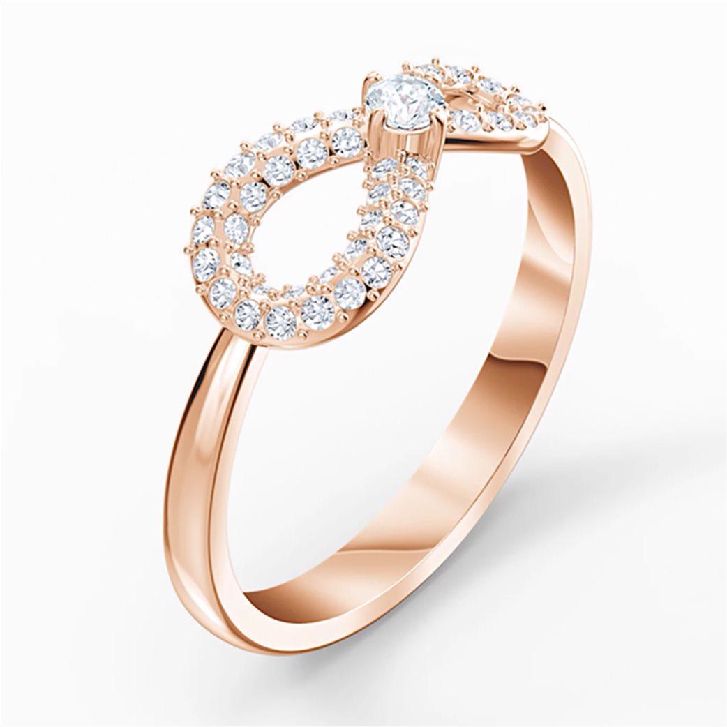 Swarovski Infinity Ring, White, Rose-gold tone plated Λευκό 2