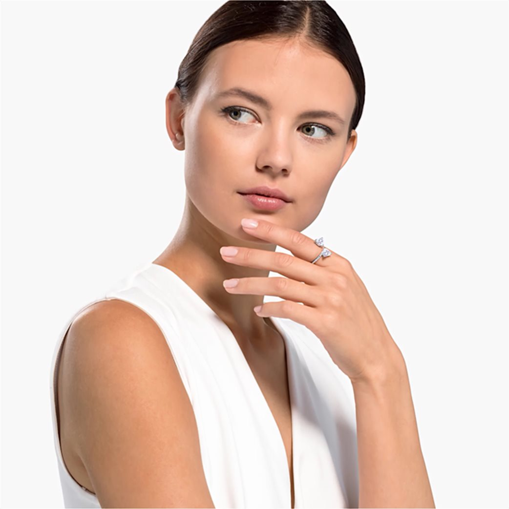 Swarovski Attract Soul Heart Ring, White, Rhodium plated Λευκό 1