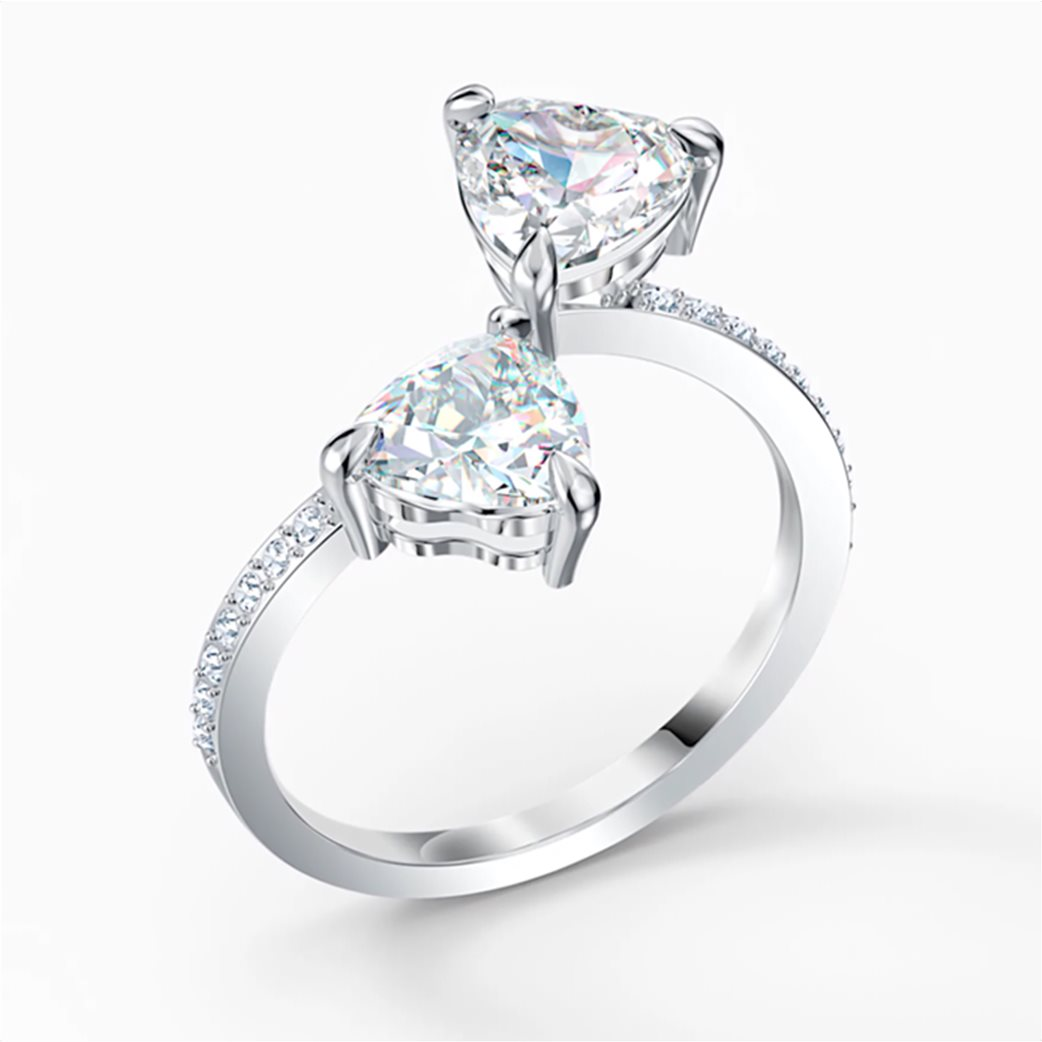Swarovski Attract Soul Heart Ring, White, Rhodium plated Λευκό 2