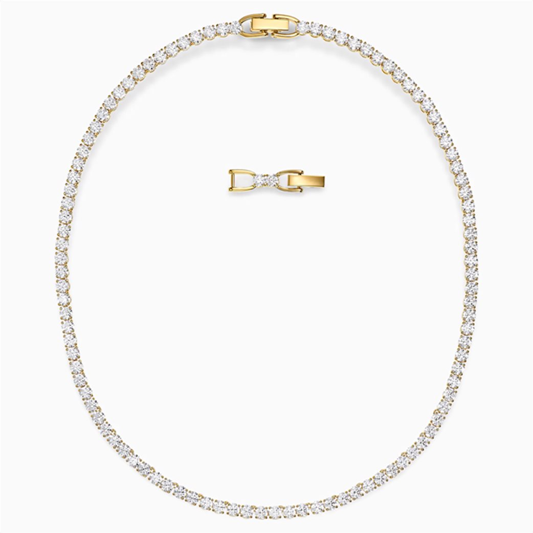 Swarovski  Tennis Deluxe Necklace, White, Gold-tone plated Λευκό 1